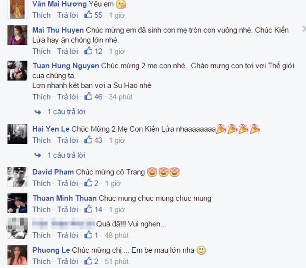 Đông đảo bạn bè nghệ sĩ nhắn tin chúc mừng niềm hạnh phúc của Trang Trần.