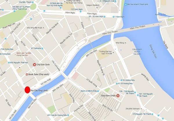 Địa điểm cháy được đánh dấu đỏ trên bản đồ.