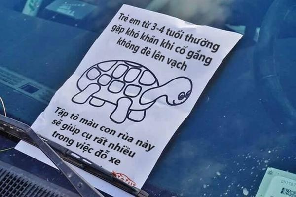 Lời nhắn thâm thúy dành tặng một bác tài đỗ xe không đúng nơi quy định.