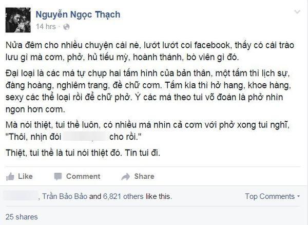 """Nhà văn trẻ Nguyễn Ngọc Thạch lên tiếng về trào lưu """"Cơm - phở""""."""