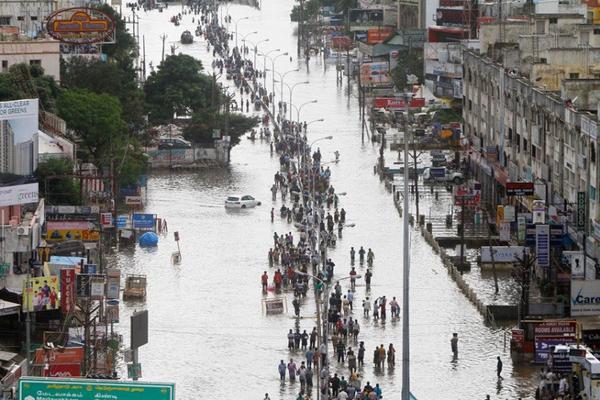 Mưa to liên tục trong những tuần qua khiến hơn 3 triệu người dân tại TP Chennai, thủ phủ bang Tamil Nadu, không thể tiếp cận những dịch vụ cơ bản, đồng thời cản trở nỗ lực sơ tán, cứu hộ. Nước lũ tại miền Nam Ấn Độ đã bắt đầu rút bớt vào ngày 3/12, giúp lực lượng cứu hộ có cơ hội sơ tán hàng ngàn người đang bị mắc kẹt.