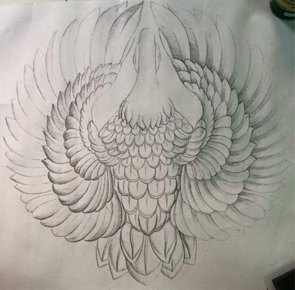 Trước đó, Mấn đội đầu hình chim hạc được hình thành chi tiết ngay từ trên bản vẽ.