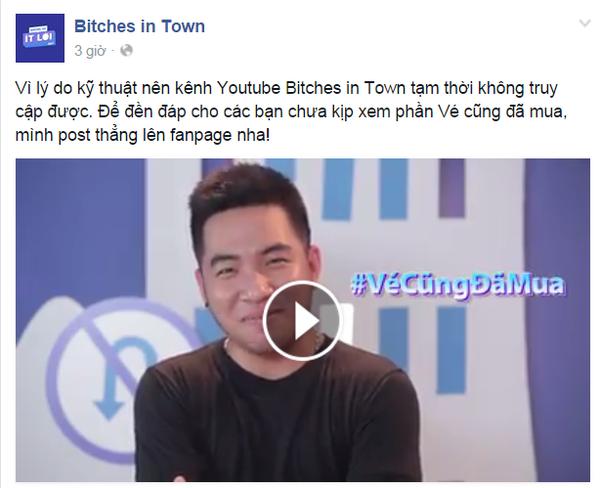 Vì lý do kỹ thuật nên kênh Youtube Bitches in Town tạm thời không truy cập được