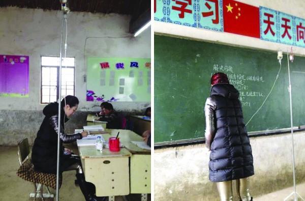 Cô giáo Đinh Linh vừa giảng bài vừa truyền nước.