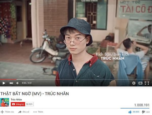 MV Thật bất ngờ của Trúc Nhân vừa cán mốc 1 triệu lượt nghe/xem.