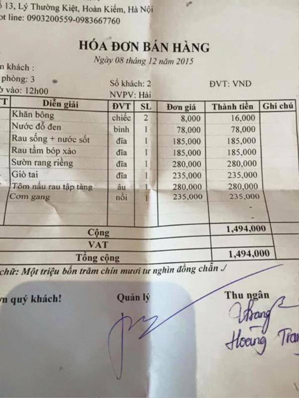 Hóa đơn 2 suất cơm bụi có giá gần 1,5 triệu đồng