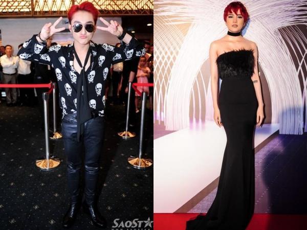 """Sơn Tùng và """"bạn gái tin đồn"""" chọn phong cách thời trang tương đồng với nhau khi tham dự một sự kiện."""
