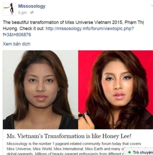 Thông tin nghi vấn Hương thẩm mỹ cũng được báo Indonesia, Philippines và Missosology đăng tải.