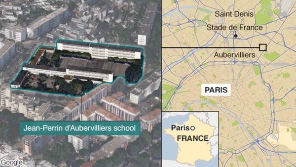 Vị trí xảy ra vụ tấn công bất ngờ giáo viên mầm non tại phía Bắc  ngoại ô Pháp.