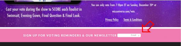 Sau khi truy cập vào trang web Miss Universe theo đường link kể trên, bạn chỉ cần điền email của mình vào ô trống rồi bấm vào dấu mũi tên ngay trong ô.