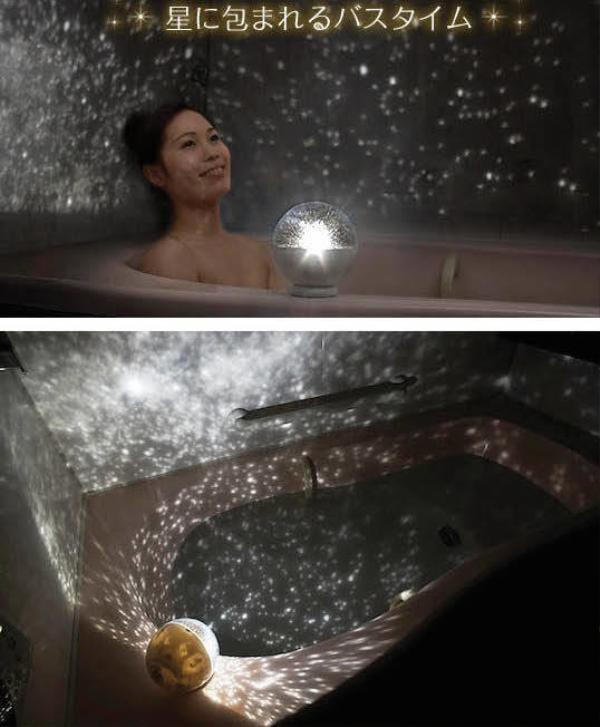 Đèn phát sáng chống nước với ánh sáng như dải ngân hà trong phòng tắm tại gia.