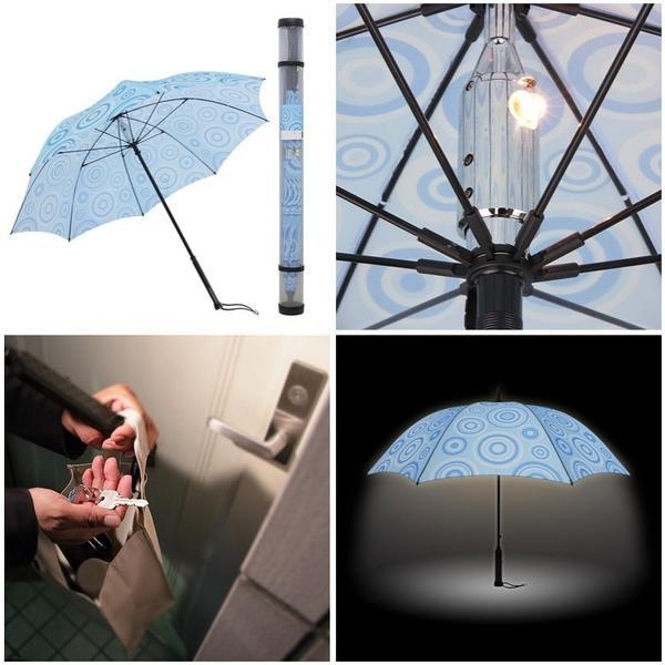 Chiếc ô có gắn đèn phát sáng khi bạn đi bộ qua đoạn đường tối không đèn.