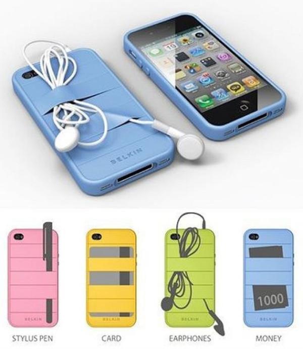 Mặt sau của vỏ bọc điện thoại đa-zi-năng có thể cài bút, tiền, tai phone...