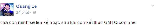 Status mới nhất trên Fanpage của Quang Lê.