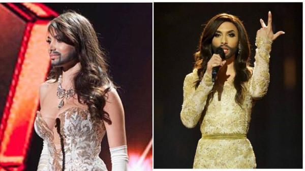 Amina Dagi đeo râu giả khá giống với ca sĩ Conchita Wurst.