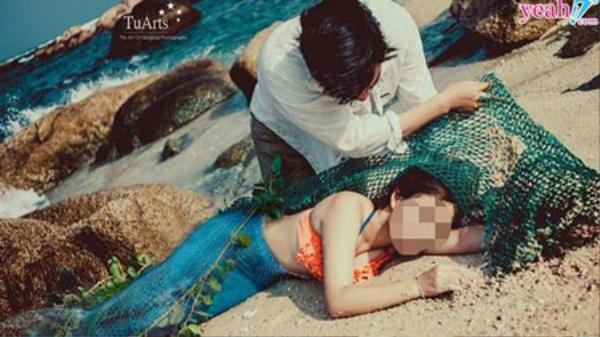 """Ảnh trong bộ ảnh cưới được lấy xuống để đồn thổi thành """"nàng tiên cá 48 kg""""."""
