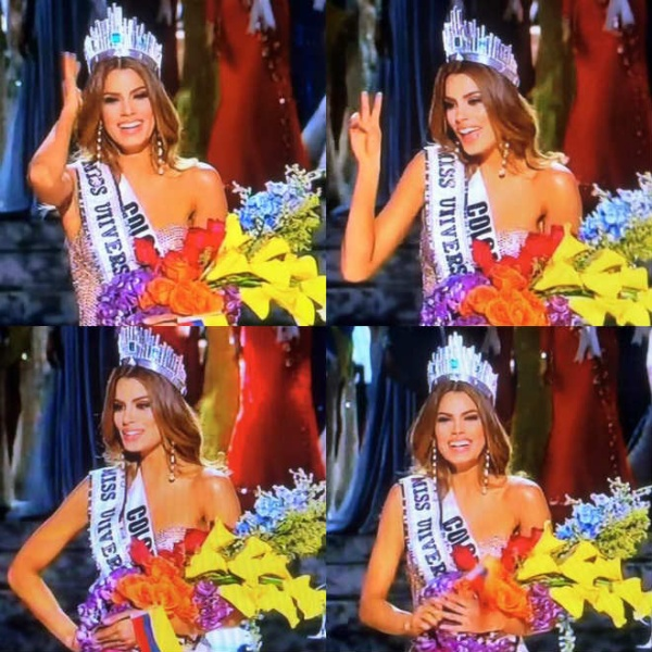 Người đẹp Colombia vui sướng khi được xướng tên ở vị trí cao nhất.