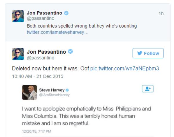 Steve Harvey viết nhầm tên quốc gia Philippines và Colombia.
