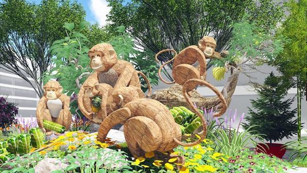 Hình ảnh linh vật năm nay là gia đình khỉ được bố trí ở 2 bên, chính giữa là đại cảnh Hoa Kết Đoàn nhiều màu sắc. Xuyên suốt trên đường hoa là các tiểu cảnh thể hiện sự đoàn kết, chung sức...