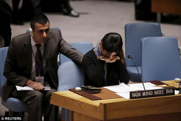Nadia - nô lệ tình dục bị IS giam giữ và hãm hiếp trong ba tháng cầu xin Hội đồng Bảo an Liên Hợp Quốc xóa sổ nhóm cực đoan. Ảnh: Reuters