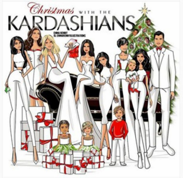 Trong tấm thiệp Giáng sinh của gia đình được thực hiện bằng hình vẽ, Kim bế con trai Saint trên tay.
