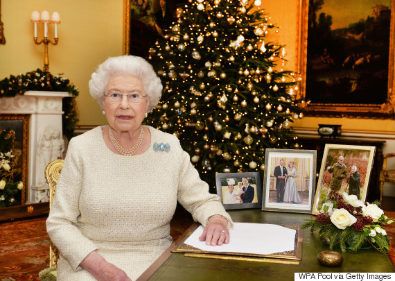LONDON, ENGLAND - DECEMBER 25: Queen Elizabeth II sits at a desk in the 18th Century Room at Buckingham Palace, after recording her Christmas Day broadcast to the Commonwealth on December 25, 2015 in London, England. (Photo by John Stillwell-WPA Pool/Getty Images)