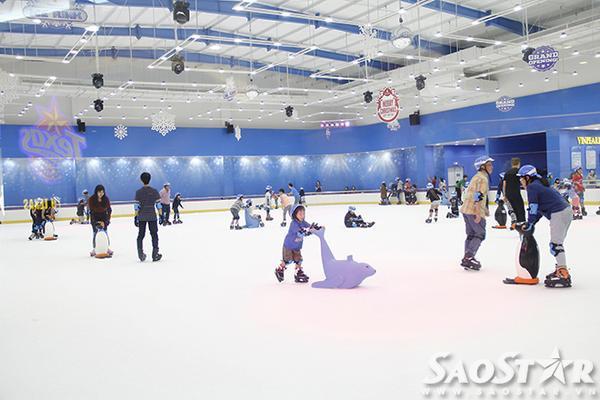 Khu trượt băng được xây dựng theo mô hình sàn trượt băng trong nhà với đầy đủ ánh sáng, thiệt bị hỗ trợ hiện đại cho khách.