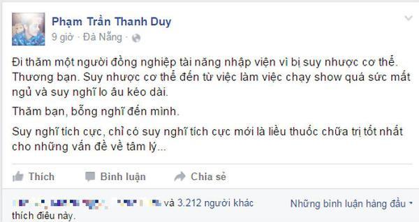 Status gây chú ý của ca sĩ Thanh Duy.