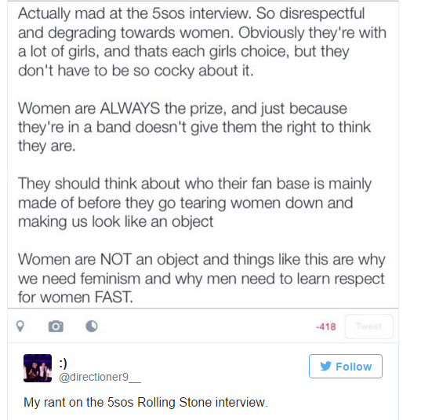 Các fan cho rằng  5 Seconds Of Summer xúc phạm phái nữ khi tiết lộ chuyện lên giường với fan.