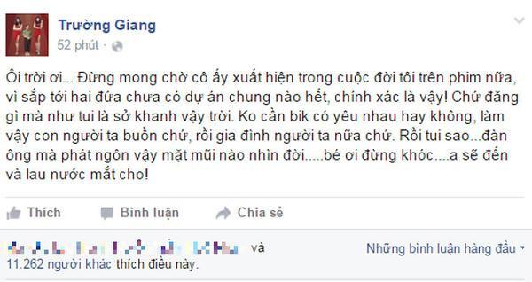 Status đính chính của Trường Giang trên trang Facebook riêng.
