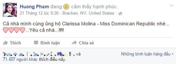 Phạm Hương lên Facebook kêu gọi người hâm mộ quê nhà ủng hộ đại diện Dominica sau khi cô bất ngờ trượt Top 15 chung cuộc.