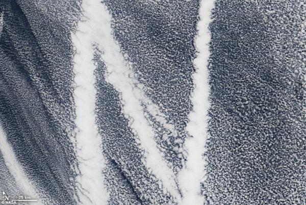 Con tàu chạy trên Thái Bình Dương tạo ra những vệt trắng trên biển cùng mây tạo thành hình chữ N.
