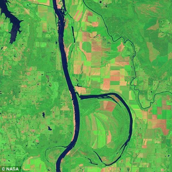 Chữ B được tạo nên từ sông Arkansas và Holla ở Bend Wildlife Refuge.