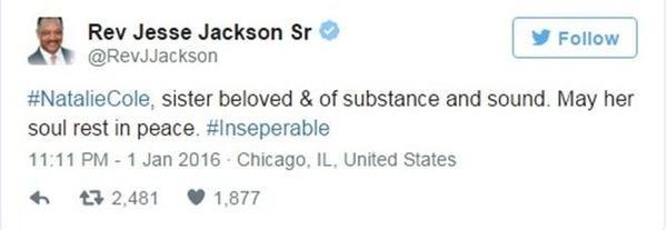 Dòng chia sẻ của Jesse Jackson trên Twitter.