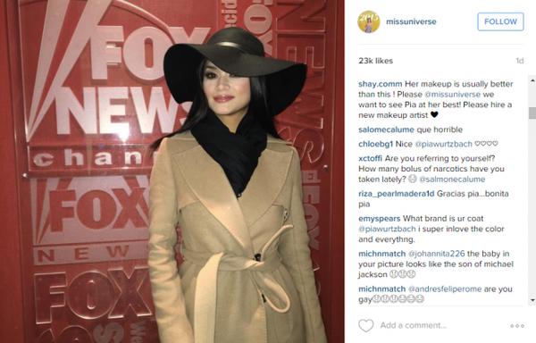Tân Hoa hậu Hoàn vũ Pia Wurtzbach gây tranh cãi về nhan sắc trong ảnh mới.
