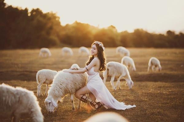 """Mẹ của bé Cadie chia sẻ: """"Lần đầu tiên Elly thực hiện bộ ảnh mang hơi hướng thần thoại , cũng chính là lần đầu trực tiếp chạm tay vào ngựa và cừu .Ban đầu Elly cũng sợ sợ, nhưng mà may mắn là các diễn viên này cũng rất hợp tác nên bộ ảnh hoàn thành vừa kịp lúc hoàng hôn xuống."""""""