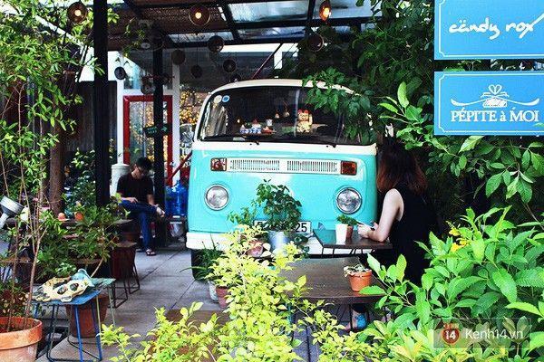 Chiếc xe màu xanh dương dễ thương nằm lấp ló trong vườn.