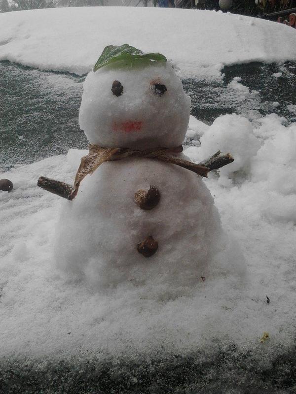 Nhiều chú người tuyết đáng yêu đã ra đời tại Sapa hôm nay. Ảnh: Huyen Nguyen.