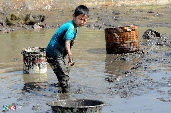 Trẻ em cũng lội bùn phụ cha mẹ. Các hộ dân đánh bắt trước lễ ông Táo khoảng 10 ngày để đưa cá lên bể và cho chúng quen dần với môi trường mới. Nhiều hộ sau khi tát ao của mình xong đi thu mua lại cá từ cả các nhà khác.