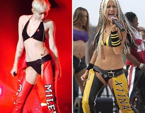 Christina từng đăng status cho rằng Miley đạo nhái trang phục diễn của mình.