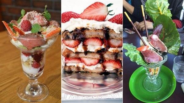 Từ thịt bò, thịt lợn rán đến cả cá sống cũng được phục vụ kèm kem tươi và hoa quả.