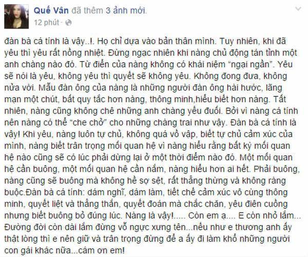 Status mới nhất của Quế Vân trên trang Facebook riêng.
