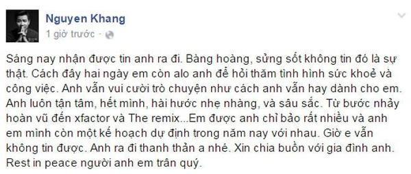 Status mới nhất của MC Nguyên Khang.