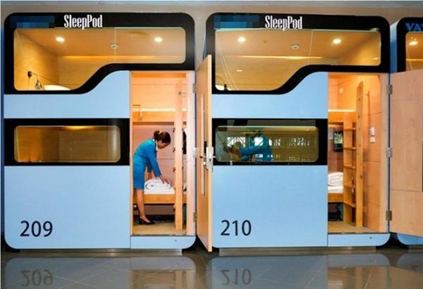 Những hộp ngủ mini đặt tại sân bay Nội Bài đã sẵn sàng phục vụ du khách.