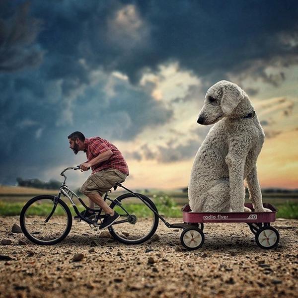 Chris hì hục đạp xe kéo theo tôi ngồi chiếc xe nhỏ