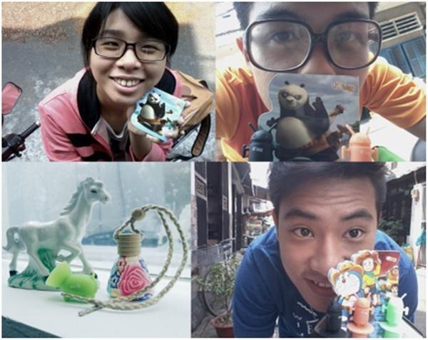 Các bạn teen háo hức khoe quà tặng độc từ Kungfu Panda và sữa chua đá.