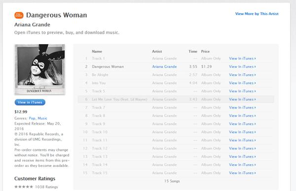 Album hiện tại đã có thể được pre-order trên iTunes dù tất cả ca khúc vẫn chưa được hé lộ.