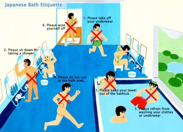 Những nguyên tắc khi sử dụng phòng tắm công cộng ở Nhật Bản.