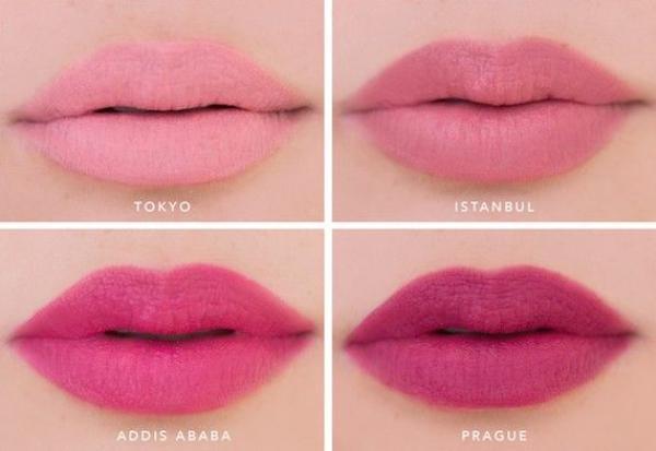 Cận cảnh các màu son Tokyo, Istanbul, Addis Ababa và Prague của NYX Soft Matte Lip Cream.