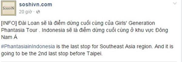 Theonhư thông báo của fansite SNSD tại Việt Nam thì Đài Loan sẽ là điểm dừng chân cuối cùng của Phantasia và Indonesia là đất nước Đông Nam Á cuối cùng trong lịch trình tour diễn.